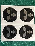 SCOOBY DESIGNS - Pegatinas para el Centro de la Rueda de aleación de Mitsubishi, Color Negro y Plateado, con Diamantes EVO X4 y Shogun LS200
