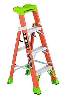 Louisville Ladder Cross-Step Fiberglass 300 lb Duty Rating Type IA Step/Shelf Ladder