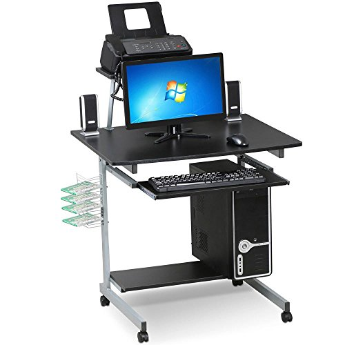 Yaheetech Black Computer Cart Desk Mobile Height Adjustable Workstation on Wheels Rolling Home Office Desk
