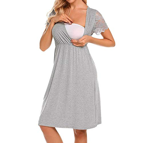 DFEBV Kleider Für Schwangere Schwangere Kurzarm Tops Für Schwangere Schwangere Frauen Still Nachthemd Schwangerschaftskleid Spitze Spleiß Mutterschaftskleid