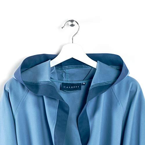 Caleffi Tecno bicolor Accappatoio con Cappuccio, Microfibra , Blu, XL, 25938