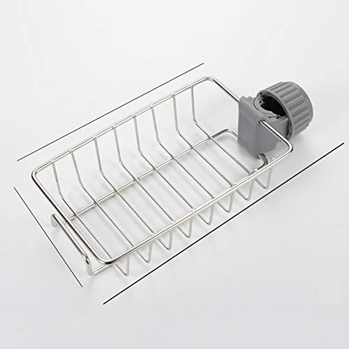 Estante de acero inoxidable para grifo de cocina, estante de almacenamiento de esponja y paño organizador de drenaje para piscina, toallita de almacenamiento