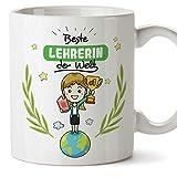 Tazza per insegnante con scritta 'Best Teacher in the World', in ceramica, 325 ml, per insegnante