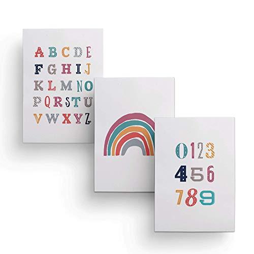 Friendly Fox Kinderzimmer Poster Babyzimmer - 3er Set Wandbilder - DIN A4 - Kinderposter (Montessori)