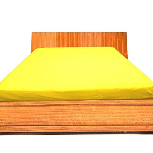 "LUXURIOUS BEDDING Just Contempo - Sábana Bajera Ajustable (algodón, 800 Hilos, tamaño Individual), algodón, Amarillo, Single 11"" Deep Pocket"