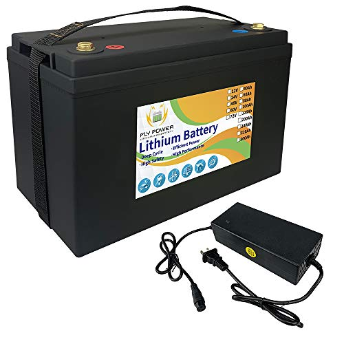 FLYPOWER LifePo4 Battery 12v 100Ah 3000-7000 Deep Cycles with BMS Lithium Iron for RV Campers Solar Marine caravans golf carts Energy Reserve Power Supply Emergency Lighting Run in Series or Parallel