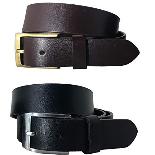 BRADLEY CROMPTON El Multi-Paquete Negro y marrón Para Mujeres (Set De 2 Cinturones) Paquete Gemelo Con Cinturones Casuales Y Formales De Genuino Y Completo Cuero Natural (90 cm/ 32 Inches)