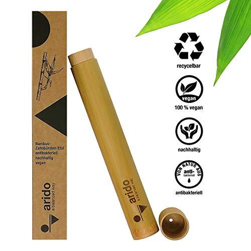 arido Bambus Zahnbürstenhülle 1 Stück aus nachhaltigem Bambusanbau 100% biologisch abbaubar Reiseetui für Bambus Zahnbürsten Plastikfrei