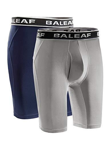 BALEAF Men's Cool Dry 9 Inch Underwear Long Leg Athletic Boxer Briefs Sport Workout Stretch 2-Pack Lightweight Grey/Navy Size XXL