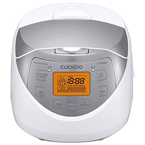 Cuckoo CR-0632F 6 Cup Micom Rice Cooker and Warmer, 10 Menu Options, Made in Korea, Nonstick Inner Pot, White/Silver