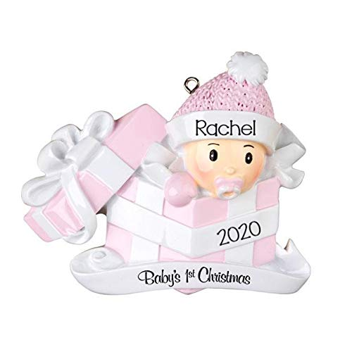 2020 Personalized Ornament Baby's First Christmas Baby in Present Christmas Tree Ornament Handwritten Customized Decoration Baby Ornaments-Free Personalization (Blue)