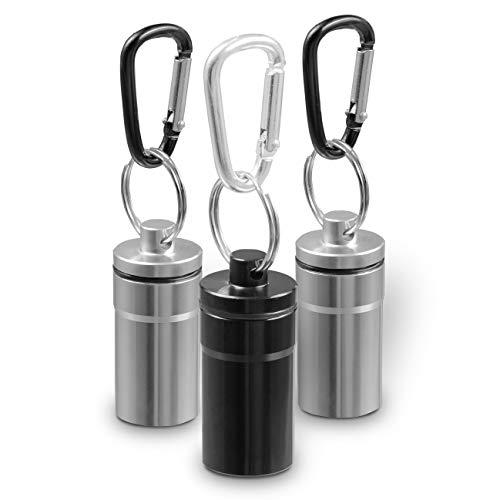 SWISSHOME – Taschenaschenbecher im Set (3 Stück) inkl. Karabiner. Vollkommen wasserdicht & geruchsdicht – Multifunktional - Premium Qualität - Schwarz / Silber