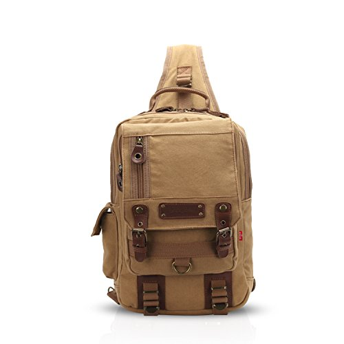 FANDARE Sling Bag Bolso Bandolera Gimnasio Bolsas de Deporte Messenger Bag Bolso Senderismo Deportes Hombre Las Mujeres Mochila Lona Caqui
