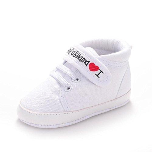 Botas para Bebé, Amlaiworld Bebé niño niña suave suela lienzo zapatillas de niño 0-18 Mes (Tamaño:0-6Mes, Blanco)
