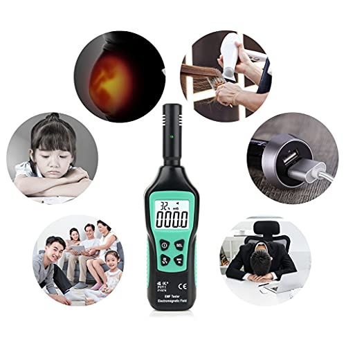 LEXIANG Medidor EMF Detector de radiación doméstico 5HZ — 3500MHz Alarma de luz acústica Medidor de Campo electromagnético LCD Digital portátil
