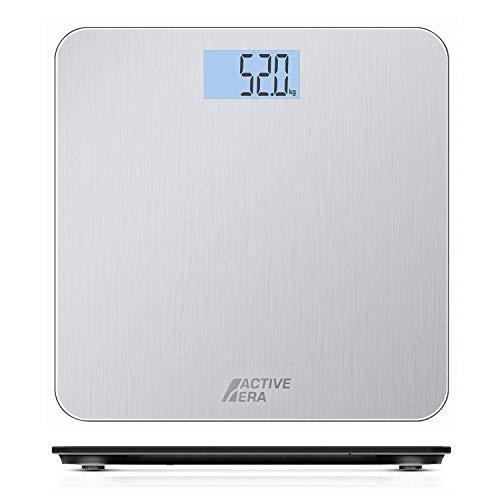 Active Era™ Báscula de Baño Digital Ultrafina con Sensores de Alta Precisión (stones/kgs/libras) - Acero