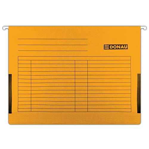 DONAU 7420905-12 Hängetasche mit Leinenfröschen  Aus Recycling-Karton 230 GSM für DIN A4 Farbe: Orange   5er Packung  auswechselbarem Blanko-Schildchen  ideal für Büro und Schule und der Behörde  Grün