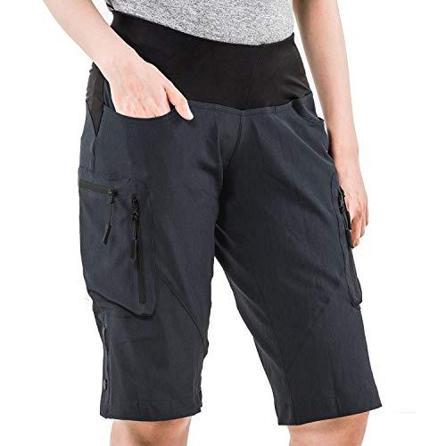 Cycorld MTB Hose Damen Radhose, Schnelltrocknend Mountainbike Hose mit Innenhose und hochwertigem Sitzpolster, Atmungsaktiv MTB Shorts Fahrradhose Damen Outdoor Bike Shorts (M, Schwarz)