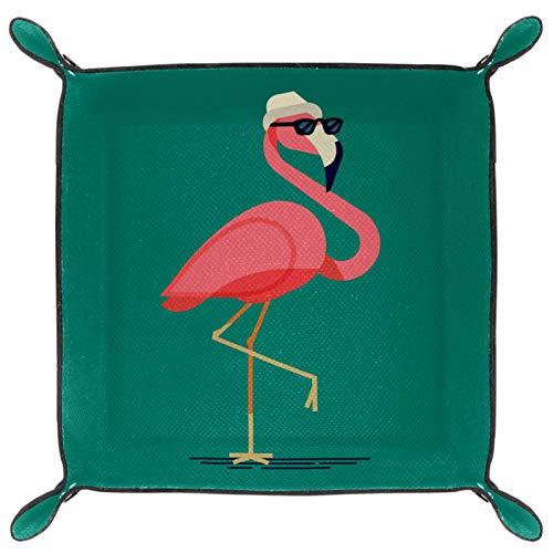 gdfgd Soporte plegable de cuero para dados con broches para DnD, juegos de mesa, almacenamiento, flamenco divertido con gafas