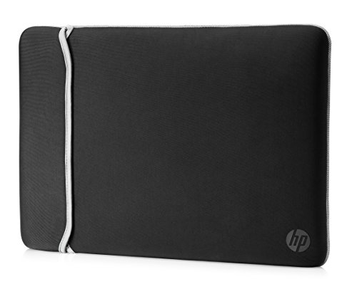 HP Neoprene Reversible Sleeve - Funda para portátil de hasta 39,62 cm, color negro y plata