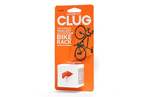 Hornit CLUG Bike Clip Indoor Outdoor Road Bicycle Storage System, White/Orange