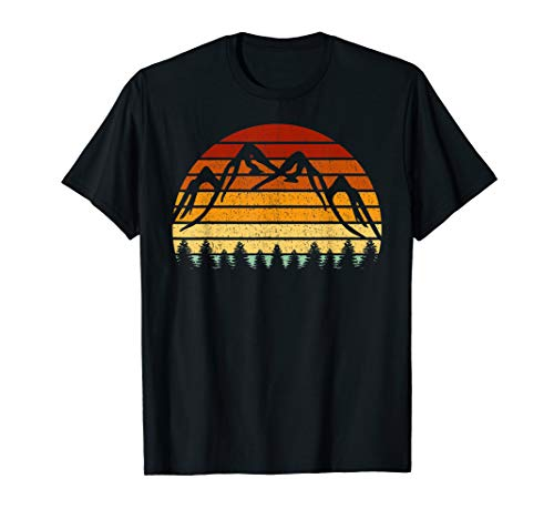 Vintage Sonne Berge Geschenk für Bergsteiger und Wanderer T-Shirt