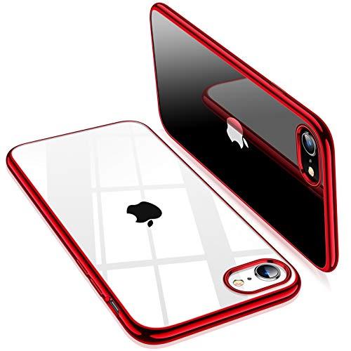 TORRAS iPhone SE 用ケース 第2世代 iPhone7用 iPhone8 用ケース 2021年新型 透明 ソフトTPU 赤 メッキ加工 クリア 薄型 軽量 耐衝撃 SGS認証 黄ばみなし レンズ保護 4.7インチ アイフォン SE用 7 8カバー レッド Shiny Series