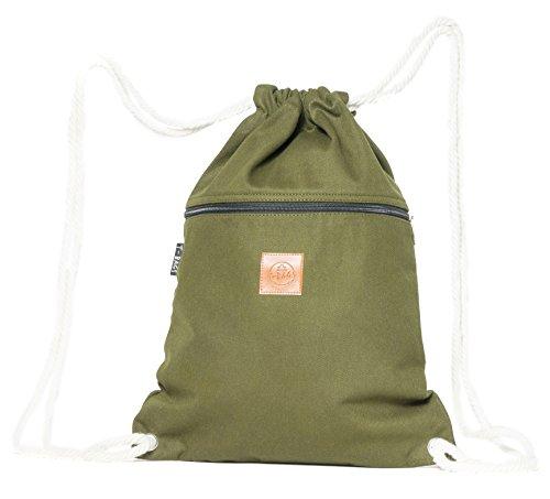 T-BAGS Thailand Baumwoll Turnbeutel Hipster - mit Reißverschluss - 24 Designs – Hochwertiger Beutel Rucksack Gym-Bag mit verstellbaren Kordeln (Olivgrün)