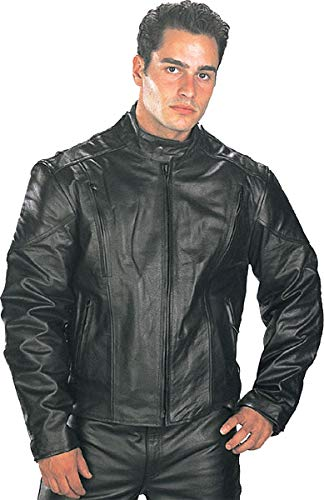 Xelement B7201 'Speedster' Men's Black Top Grade Leather Motorcycle Jacket with Zip-Out Lining - 3X-Large