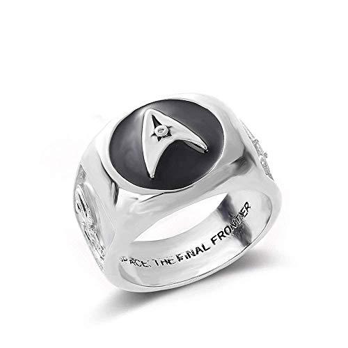 LKITYGF Novelty Fashion Vintage Titanium Steel Men's Ring Festival Gift Jewelry Ring Wholesale Star Trek Star Trek Ring U.S. Starship Enterprise Boundary Men's Ring,12 (Size : 11)