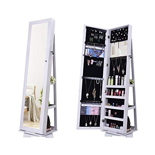 Jewellery Cabinet, Mirroir Cabinet Armoire Floor Standing Flip-over 60 Degree Rotation Full-Body Mirror Cabinet PVC Film Moisture-Proof Dressing Mirror Cabinet Super Storage Jewelry Storage Mirror