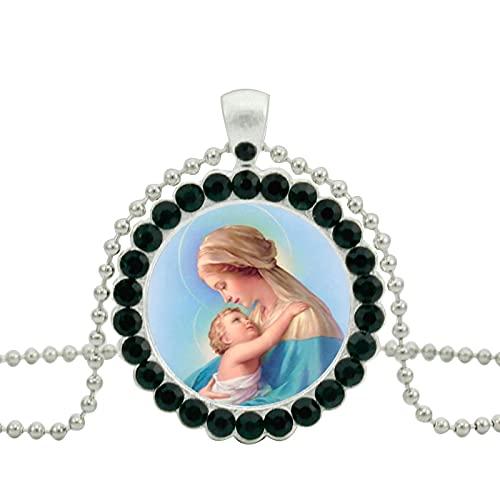 Moda bendita Virgen María collar de cristal madre del bebé colgante mujeres cristianas joyería colgantes collares