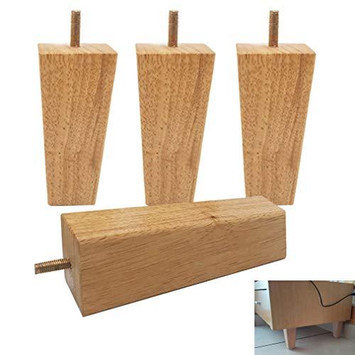 4 Stück Holz Sofabeine Möbelbeine,Quadratische Schrankbeine,M8-Bolzen Sofabefüße,für Sessel,Schrank,Kommode,Sofa,Couchtisch,TV-Schrank Möbelfüße Ersatzbeine(18cm/7in)
