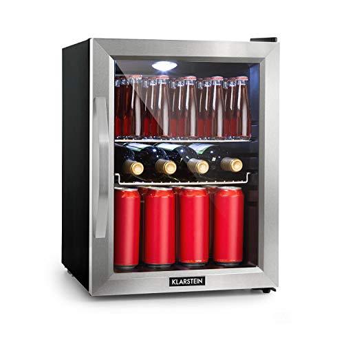 Klarstein Beersafe - Nevera con puerta acristalada, Mininevera, Minibar, Iluminación LED, Acero inoxidable, 5 niveles de frío, 42 dB, 2 rejillas metálicas extraíbles, C, 35 litros, Negro