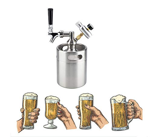 2L / 64 Unze Mini Bier Keg Growler, Edelstahl Bierfass Bier Vorratsbehälter Dispenser Kit, Portable Bierkühler Verstellbarem CO2 Pressure Regulator für Hausbrauen Craftbier