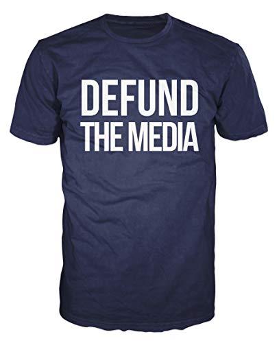 Dalesbury Defund The Media T-Shirt (L, Navy Blue)
