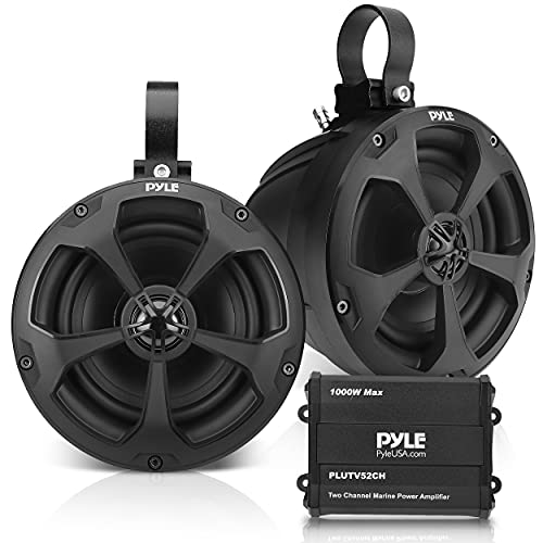 Waterproof Off-Road Speakers with Amplifier - 5.25 Inch 1000W 2-Channel Outdoor Marine Waketower Speakers Full Range for ATV UTV Quad Jeep Boat - Pyle PLUTV52CH