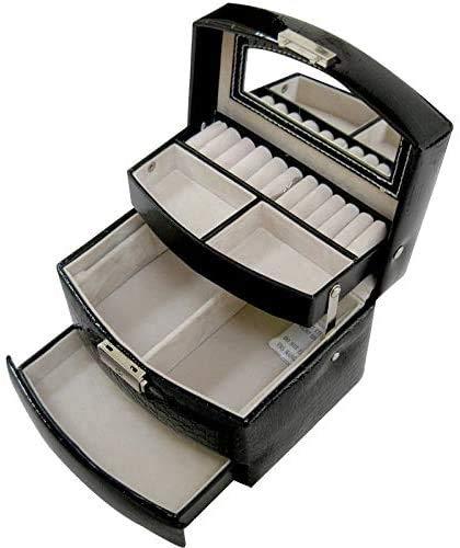 Gymqian Caja de Joyería Caja de Joyería Tres Capas Anillos Semiautomáticos Pulsera Collar Anillos Anillos de Joya Alenamiento Pu Mujer Joyería Caja Seguro y fuerte