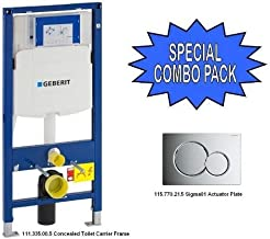 Geberit 111.335.00.5 Concealed Toilet Carrier Frame and 115.770.21.5 Actuator Plate - SPECIAL COMBO!