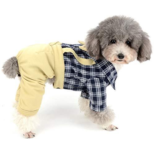 Zunea Hunde-Overall mit Schleife, sanfter Latzhose, formelle Welpen-Outfits, Western-Vierbein-Strampelanzug, modisch, für kleine Hunde und Jungen
