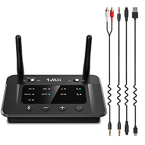 1Mii Transmisor Receptor Bluetooth 5.0 Audio, Bypass 3 en 1 con Óptico RCA Aux, AptX de Baja Latencia &Hi-Fi, Emisor Bluetooth para TV Doble Enlace a 2 Auriculares, Adaptador Bluetooth Largo Alcance