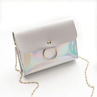 Transparent Shoulder Bag Women Teen Girl Fashion Hologram Laser Crossbody Bag Pouch Shoulder Handbag Purse Messenger Bag (Multicolor)