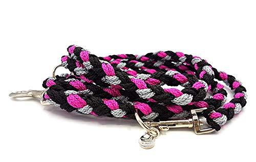 3fach verstellbare Führleine, Größe M-L, geflochten, schwarz/silber/himbeerpink für mittlere bis große Hunde