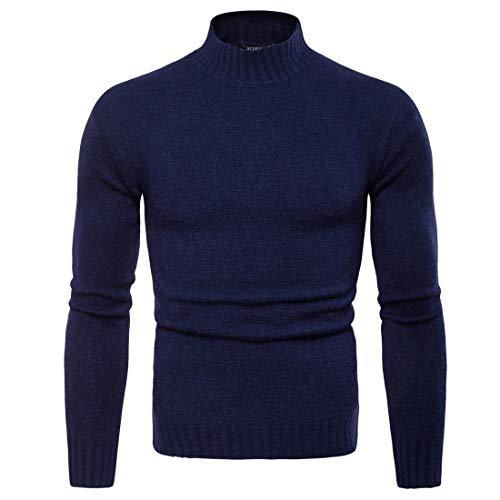 Heren Knitwears Mannen High Revers Slim dieptepunt shirt met effen kleur gebreide trui Voor Koud Weer (Color : Navy Blue, Size : L)