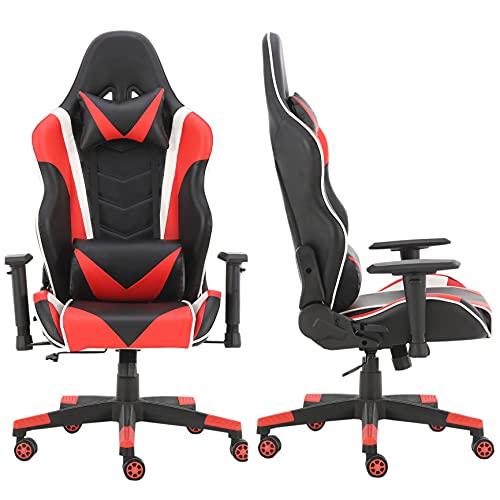 Bürostuhl / Arbeitszimmer / Spielstuhl / Schreibtischstuhl, höhenverstellbar, PU-Leder, 4 Farboptionen (rot)
