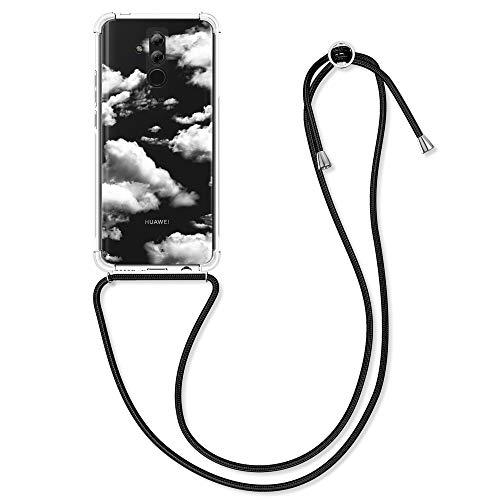 kwmobile Carcasa con Cuerda Compatible con Huawei Mate 20 Lite - Funda Transparente con Colgante en Blanco/Transparente