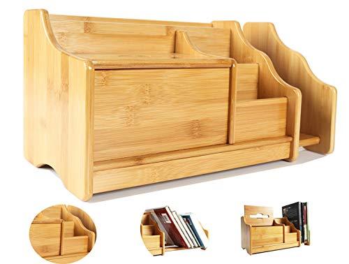 Catekro Schreibtisch Organizer Holz, Desktop Bookshelf Groß, Mit Dehnbarem BüCherregal FüR BüRo, Zuhause Und Schule