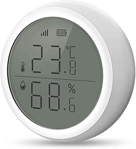 eMylo Zigbee Smart Temperatur Feuchtigkeit Sensor, Automatische WiFi-App-Steuerung mit LCD-Bildschirm Drahtloser Digitaler Thermometer Hygrometer Monitor Mit Warnmeldungen