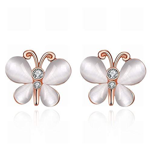 JY Pendientes pequeños y exquisitos K Gold Butterfly Flying Flying Pendientes Joyas de oro rosa/Hipoalergénico/Diamante/Cristal Transparente Moda salvaje/Como se muestra
