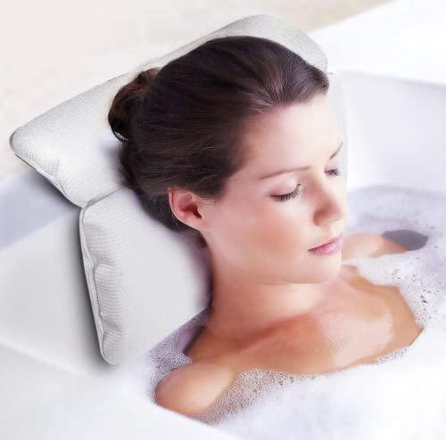 욕조 목과 등과 몸 전체 서포트용 목욕 베개 욕조 베개 서포트 스파 자쿠지 쿠션 비인플래터블 베개 목욕에서 완전히 휴식을 취하기 위해 정말 긴장을 풀기 위해